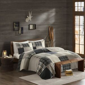 BEAUTIFUL COZY PLAID BROWN GREY BLACK RUSTIC BEIGE LOG CABIN LODGE QUILT SET NEW