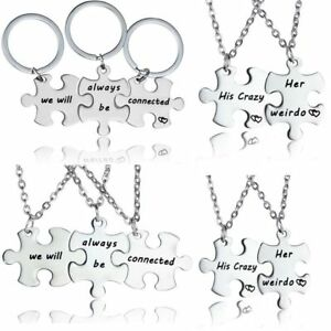 Puzzle piece pendant necklace keyring jewellery set best friends image is loading puzzle piece pendant necklace keyring jewellery set best aloadofball Gallery