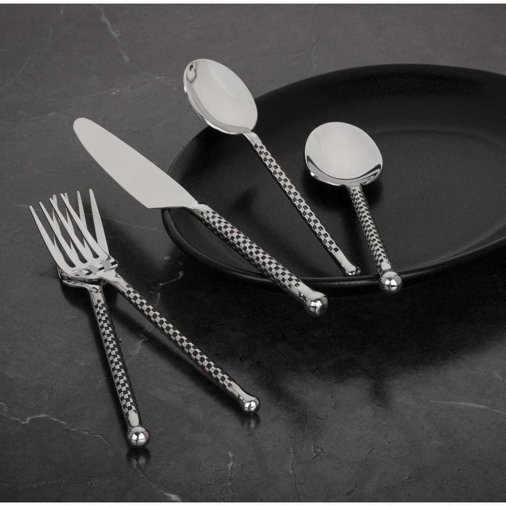 20 pcs damier Poignée Coutellerie Set couverts argenterie table de salle à manger Ustensile