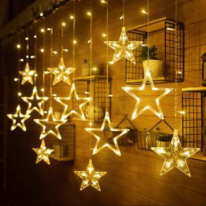 led lichterkette sterne lichtervorhang au en sternenvorhang weihnachten warmwei ebay. Black Bedroom Furniture Sets. Home Design Ideas