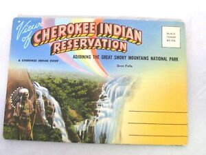 Vtg-1950-Souvenir-Fold-Out-Postcard-Cherokee-Indian-Reservation-Smoky-Mountains
