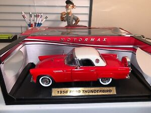 Motor-Max-RED-WHITE-Ford-1956-Thunderbird-Hardtop-1-18-Scale-Die-Cast-Metal