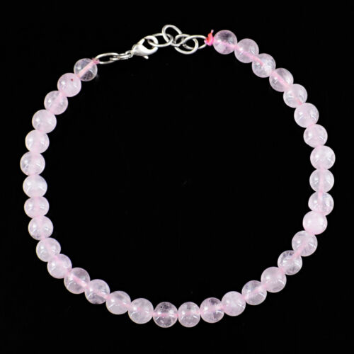 60.00 Cts Earth Mined Round Shape Untreated Pink Rose Quartz Beads Bracelet