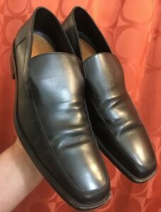 aab129e1d210 Details about 7 D ERMENGILDO ZEGNA ITALY Black Leather SLIP-ON Square Toe  DRESS LOAFER Shoes