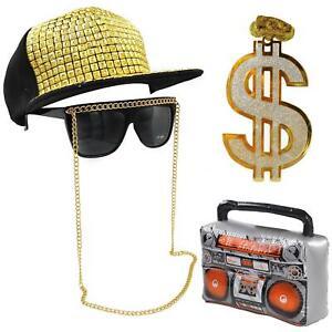 grand assortiment pas cher nuances de Détails sur Années 90 Déguisement Hip Hop Run DMC Rappeur Boom Box Chaîne  Lunettes Chapeau