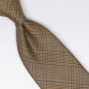 Gladson-Mens-Cashmere-Necktie-Beige-Gold-Gray-Brown-Glen-Plaid-Check-Soft-Italy