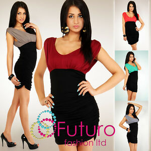 Stunning-Bodycon-Mini-Dress-Tunic-Top-Sides-Shirred-V-Neck-Size-8-10-12-5008