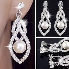 E121l Glitzy Clip On Back Earrings Teardrop Clear Crystal Faux Pearl Drop