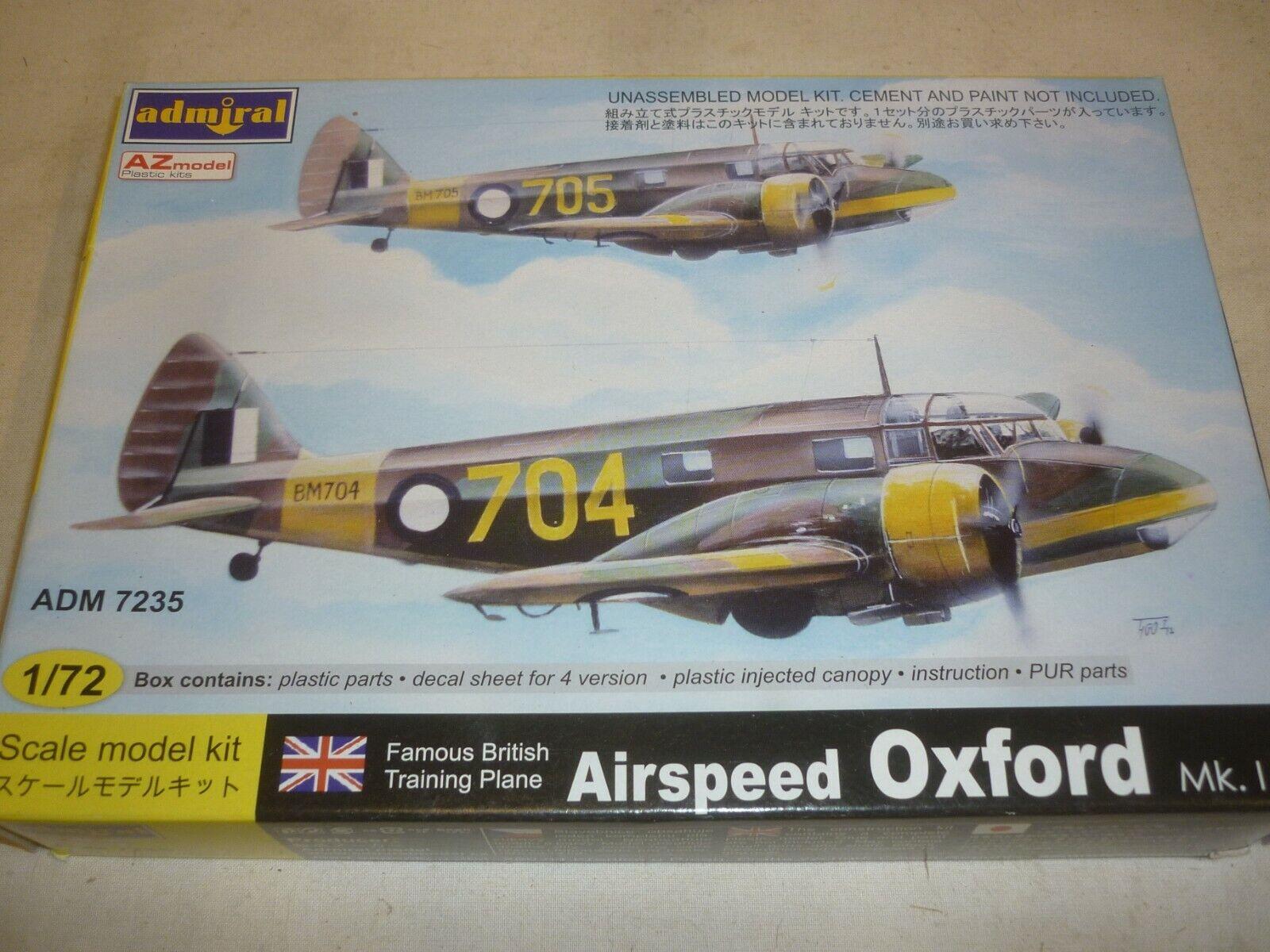 A -Z modelllllerler Admiral icke -byggt plastkit för en Airspeed Oxford, mk1, lådaed.