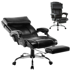 Details About Executive Reclining Office Chair Ergonomic High Back Footrest  Armchair Leather