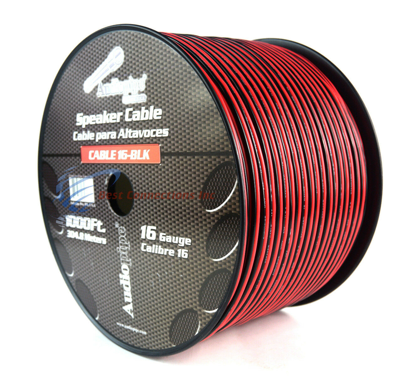 1000 FT 16 AWG GA Speaker Cable Wire 2 Conductor Copper Polarized High Performance Sound Quality Oxygen Free Audio Speaker Cable Stranded Flexible