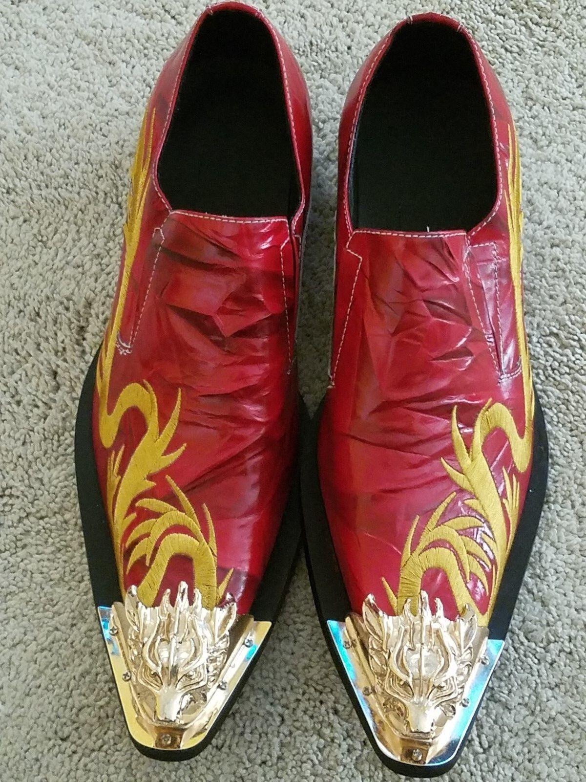 Mens Pinshang Metal Toe Leather Wing Tip Serpentine Serpentine Serpentine Dress schuhe NEW rot Größe 43 09556c