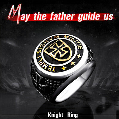 NEW Men/'s Cross Knights Templars/' Ring Unique Exquisite Vintage Stainless Ring