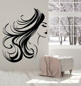Wall Decal Hair Hairstyle Decor Salon Beauty Master Work Stylist Girl Woman M733