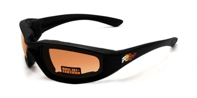 Maxx HD Motorcycle sunglasses Black brown lens foam padding ATV skull flames G7