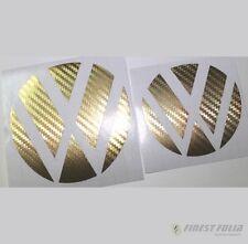 Emblem Ecken Carbon Gold vorne+hinten VW Golf 7 VII GTI GTD R Turbo Logo