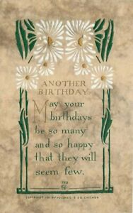Arts-Crafts-Saying-Volland-Birthday-Flowers-Postcard-11277