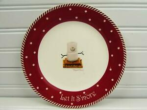 Let-It-S-039-More-by-Nikko-Salad-Plate-No-Hat-Marshmallow-People-Brown-Rim-b57