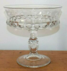 EAPG-Opened-Compote-Dakota-Baby-Thumbprint-Fern-amp-Berry-Etched-7-034-T-Ripley-Glass
