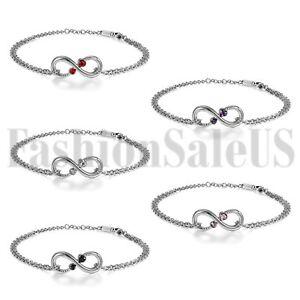 Womens-Charm-Infinity-Stainless-Steel-Chain-w-2-Love-Heart-CZ-Anklet-Bracelet