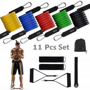 New-Resistance-Bands-Workout-Exercise-Yoga-11-Piece-Set-Crossfit-Fitness-Tubes