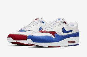 Details about 2019 Nike Air Max 1 Premium QS SZ 8.5 Puerto Rico White Red Blue USA CJ1621 100
