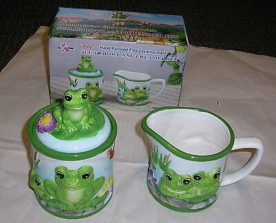 ST5  KK #3082  FROG  SUGAR BOWL WITH LID AND CREAM CREAMER SET