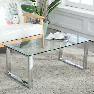 Details About Modern Gl Stainless Steel Coffee Table Side End Living Room Furniture