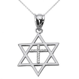 Solid white gold jewish israel star of david with diamond cross image is loading solid white gold jewish israel star of david aloadofball