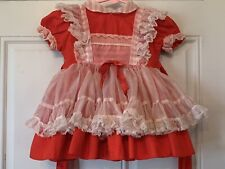 Vtg Ruffle Layered Betty Oden Baby Girl Dress Sz 2T Holiday Pageant Full Circle