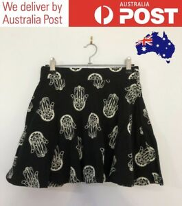 CUTE-BLACK-A-LINE-SKIRT-BUDDHISM-HAMSA-HAND-SYMBOL-PATTERN-SUPRE-SIZE-S-NEW