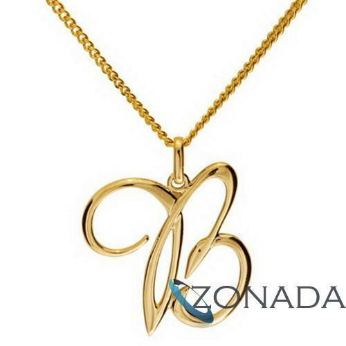 New 9ct 9k Solid Yellow Gold Initial B LETTER Pendant 65046B