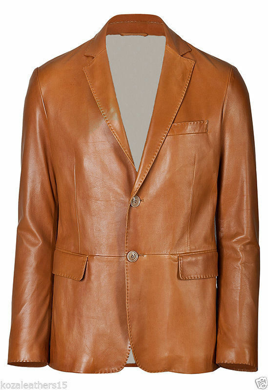 Men Genuine Lambskin Leather Blazer Coat Soft High Quality