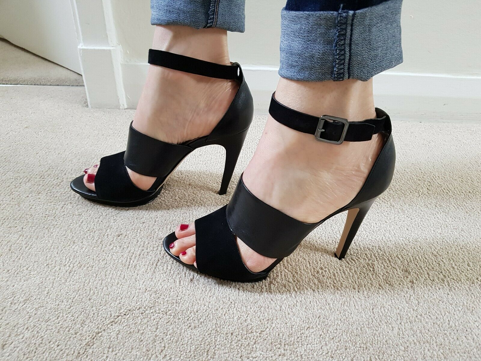 French Connection Black Ankle Strap Heels UK7 40 BNIB