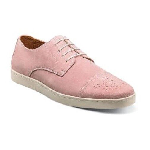 Mens shoes Stacy Adams Travers Cap Toe Oxford Misty pink Suede sneaker 25181-665