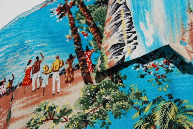 Gentleman's L / XL Sky Blue Genuine Aloha Retro Hawaiian Short-Sleeved Shirt