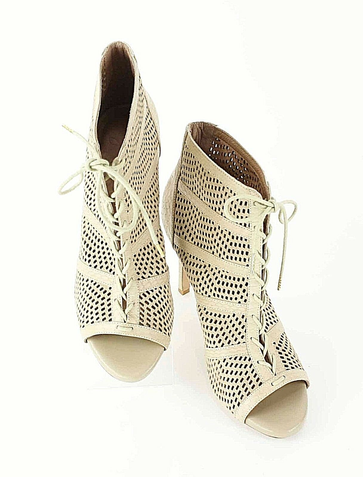 Joie Sz 38 Tan Perforated Leather Laced Open Toe High Heeled Ankle Boot E117