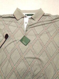 Bobby-Jones-Stretch-Cotton-Blend-Gray-Diamond-Pattern-Polo-Golf-Shirt-NWT-L-98