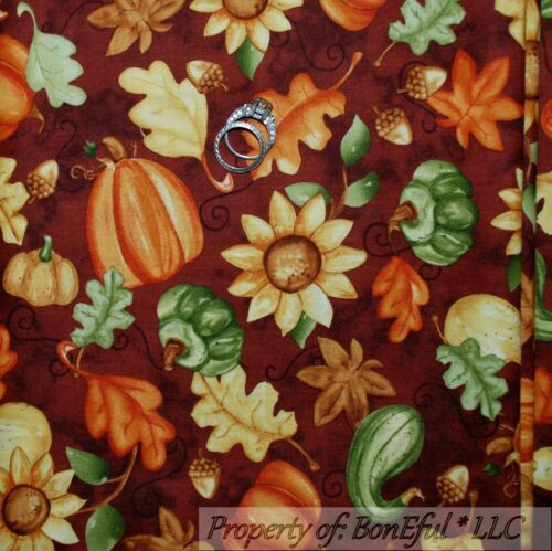 BonEful FABRIC FQ Cotton Quilt Acorn Sun*Flower Gold Leaf Harvest Pumpkin Garden