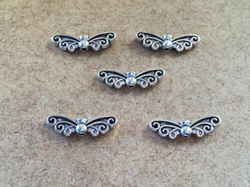 10//20//40 Plata Tibetana Antiguo Angel//alas de libélula Espaciador granos