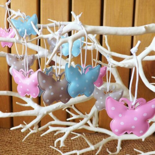 12 Mini Metal Hanging Butterflies Pink Blue Taupe Spotty Tin Home Wedding Craft