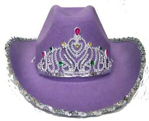 2fc41346 2 VELVET PURPLE COWBOY HAT W TIARA cowgirl western wear pageant hats ...