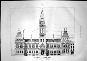 Antique-Print-Worcester-Town-Hall-Second-Premiated-Design-Robins-Roper-1872