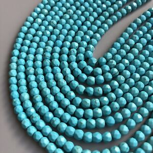 100X-Turquoise-Gemstone-Beads-4x3-5mm-Mini-Faceted-Howlite-Spacers-34cm-strand