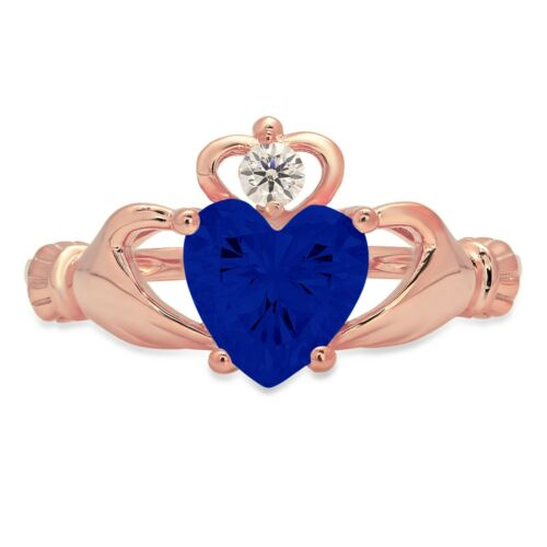 Details about  /1.50 Heart Irish Celtic Simulated Blue Sapphire Modern Ring 14k Pink Gold
