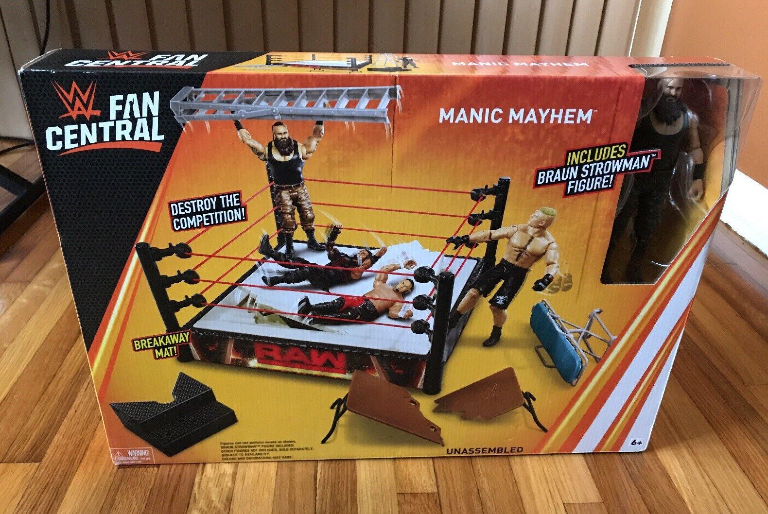 "WWE Mattel Manic Mayhem Playset Wrestling Ring - brown Strowman Figure   ""NEW"""