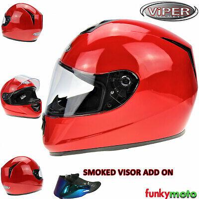 VIPER RS-250 FULL FACE ACU GOLD MOTORCYCLE MOTORBIKE CRASH HELMET GLOSS RED