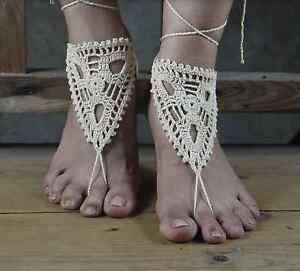 4710436fbbf26 Details about 2 PAIRS HANDMADE BAREFOOT SANDALS BOHO CROCHET HIPPY FOOT  JEWELLERY NUDE SHOES