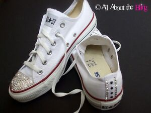Image is loading CONVERSE-ALL-STAR-White-with-SWAROVSKI-CRYSTALS -rhinestones- 4a5ea9095