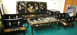 Oriental living room set furniture sofa set black lacquer mother of pearl